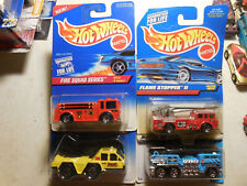 HOT WHEELS FIRE ENGINE LOT 4 FLAME STOPPER 5 ALARM FIRE-EATER TREASURE HUNT CITY