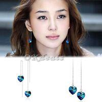 Womens 925 Sterling Silver Blue Crystal Heart Shape Dangle Long Earrings Hot