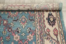 Vintage Oriental Floral Mahal Area Rug Wool Hand-Knotted Light Blue Carpet 7x10