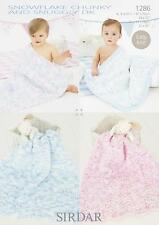 Sirdar 1286 Knitting Pattern Baby Blankets in Snuggly Snowflake Chunky &  DK