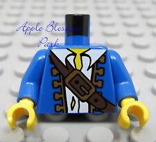 NEW Lego Pirate Boy/Male Minifig BLUE CAPTAIN TORSO w/White Shirt & Brown Belt
