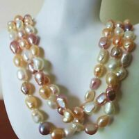 Vintage Rare Jumbo Freshwater Pearls Natural Colors 3sd Necklace 18""
