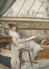 DESSIN AQUARELLE FEMME ARTISTE PEINTRE PEIGNANT ATELIER PARISIEN PARIS 1900