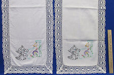Pair Vintage White Table Runners Embroidered Kitten Ringing Bell Cat Kitty