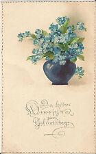 Geburtstag, Vase mit Blumen, Vergissmeinnicht, geprägte Ak von 1917