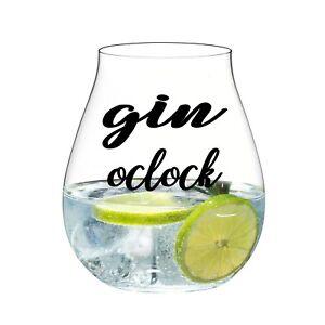 GIN O'CLOCK VINYL STICKERS FOR GIN GLASS X 6 (BLACK)