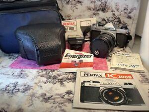 Pentax K1000 35mm SLR Film Camera Tokina 20mm-70mm Lens New Batteries! READ DESC