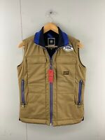 G Star Raw Mens BNWT Sleeveless Full Zip Quilted Vest Size Small Brown Brand New