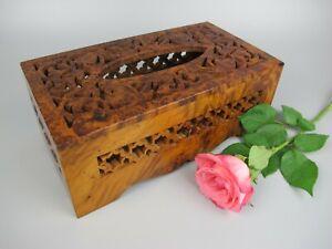Superb vintage carved & pierced Amboyna wood rectangular Tissue Box.