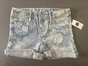 Girl's Size 5 Regular Gap Kids Floral Paisley Print Adjustable Denim Jean Shorts
