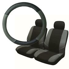 UKB4C Black & Grey Steering Wheel Cover & Front Seat Cover Set Washable