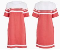 Ladies NEXT Shift Dress Linen Pockets Colour Block Summer Vintage Smock Beach
