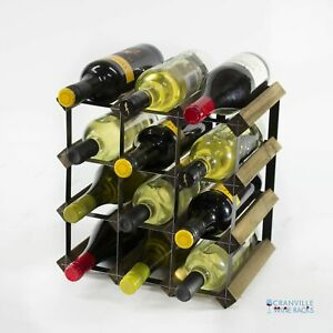 Cranville wine rack storage 12 bottle walnut stain wood/black metal assembled