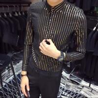 Men/'s Fashion Long Sleeve Slim Shine Shirt Youth Casual Party Nightclub Shirt