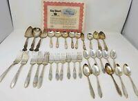 King Edward Silverplate Flatware Set - 1951 30 Pieces + 3 W.M Rogers Serving pcs
