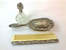 Vintage 3Pcs Silver Plated Ornate Brush Comb Perfume Bottle Vanity Set