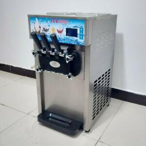 Commercial Cone Soft Ice Cream Machine 3 Flavors Frozen Ice Cream Maker Machine