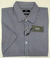 NWT $145 Hugo Boss Ronn Slim Fit Short Sleeve Blue Shirt Mens Size Small NEW