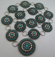 Masterful Navajo J Yazzie Sterling Silver Turquoise Needlepoint Concho Link Belt