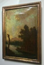 18th century French Antique Oil painting Animtaed Landscape LANTARA (1729-1778)