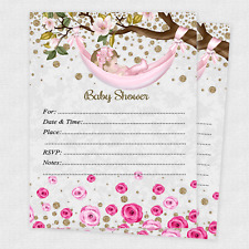 20 Girl Baby Shower Invitations Girls Cards Invites Decorations & Envelopes