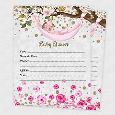 Baby shower invitations for sale ebay 20 girl baby shower invitations girls cards invites decorations envelopes filmwisefo