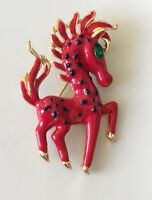 Vintage horse brooch pin in enamel on gold  tone metal