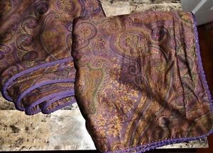 Ralph Lauren Chaps Preston Purple King Pillow Sham Set Paisley Pattern Piping