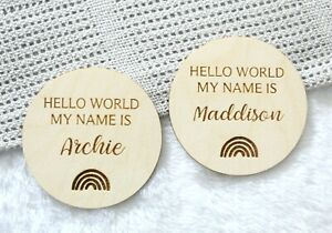 Hello World Baby Name Announcement Sign Personalised New Baby Name Plaque
