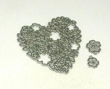 Stanzschablone cutting die HERZ filigran   Blüten Hochzeit 3 tlg. Stempel