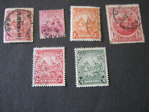 """BARBADOS  6 """"BADGE of COLONY"""" STAMPS - USED"""