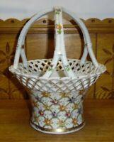 Vintage Von Schierholz Porcelain Floral Reticulated Edge Basket - Gold Wear