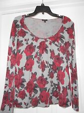 Talbots Sz Medium Gray Red Victorian Rose Flower Scoop Neck Lightweight Sweater