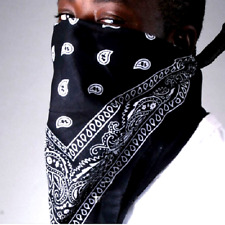Bandana 100% Cotton 2-Sided Print Safety Face Mask Cover DIY BLACK