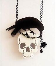 Raven Skull Rose Crow Necklace Large Black Pendant Chain Steam Punk Goth Poe