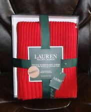 Ralph Lauren Cotton Knit Throw 50 x 70 New Red Blanket Ringspun