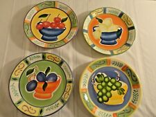 New listing Capri - 4 Various Hand Painted Fruit Design Luncheon Plates (lot of 4)