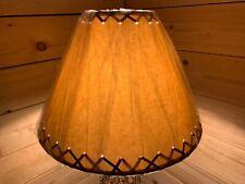 "Rustic Oiled Kraft Laced Lamp Shade - 14"""