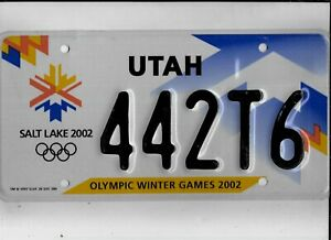 "UTAH 2002 license plate ""442T6"" ***MINT***SALT LAKE CITY OLYMPICS***""442"""