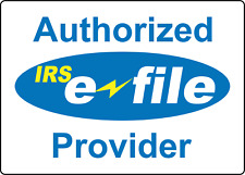 Authorized E File Provider Blue Tax Preparation Adhesive Vinyl Sign Decal