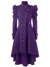 NEW Gothic Vintage Women Trench Coat Steampunk Victorian Hooded High Low Jacket