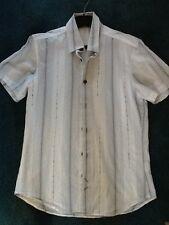 Boys White Stripe short sleeved shirt. size S .
