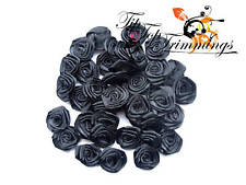 40 LOVELY TAFFETTA BLACK ROSES 18MM WIDE