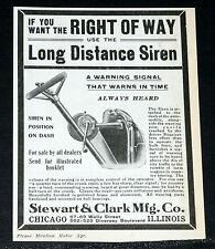 1907 OLD MAGAZINE PRINT AD, STEWART & CLARK, LONG DISTANCE AUTOMOBILE CAR SIREN!