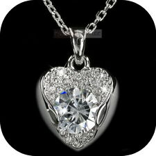 18K WHITE GOLD GF MADE WITH SWAROVSKI CRYSTAL HEART PENDANT NECKLACE 4CT