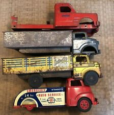 4 Vintage '50'S Marx Structo Pressed Steel Toy Trucks For Parts And Restoration