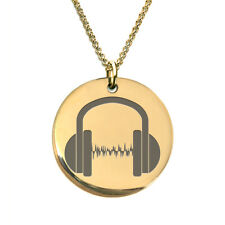 Sound Bar DJ headphone 18 K Gold Plated Laser Engraved Pendant Necklace for Men