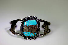 "Sterling Silver Native American Bisbee Turquoise Feather Cuff Bracelet 7"" –11374"