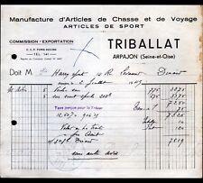 """ARPAJON (91) USINE d'ARTICLES de CHASSE de VOYAGE & de SPORT """"TRIBALLAT"""" en 1945"""