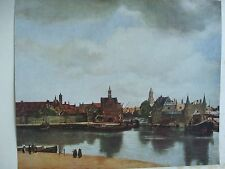 ANTIQUE PRINT C1930S THE VIEW OF DELFT BY JAN VERMEER OF DELFT VINTAGE BOATS ART